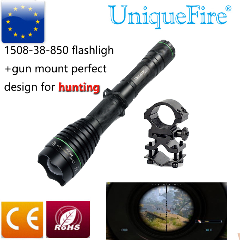 UniqueFire UF 1508-38 IR 850 Power LED Flashlight Zoomable 3-Modes+Scope Mount Perfect Design For Hunting,Waterproof uniquefire uf 1407 mini 850 ir led zoomable flashlight 3 modes 30mm convex lens torch camping light for 1x 18650 battery page 2