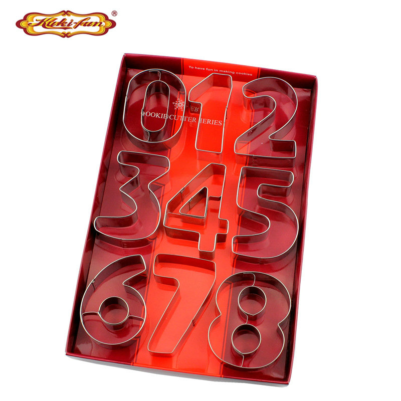 Kuki-fun 9 stks / set Grote Maat Nummer Cookie Cutter Rvs Biscuit Cutter Fondant Cookie Mould Cake Decorating Gereedschap
