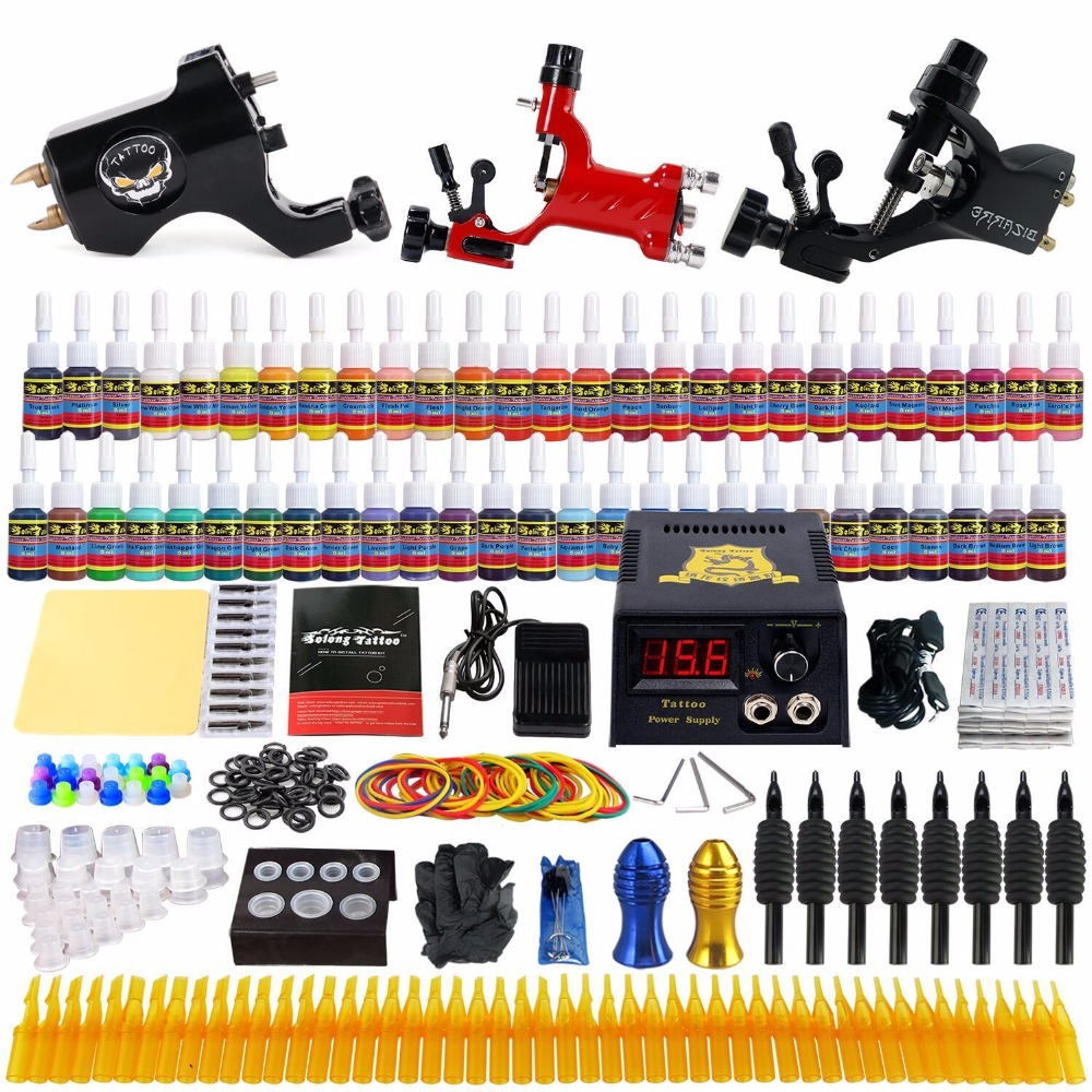 Solong Beginner Complete Tattoo Kit Professional Tattoos Machine Set Rotary Machines With Guns 54 Inks Power Supply Grips TK355