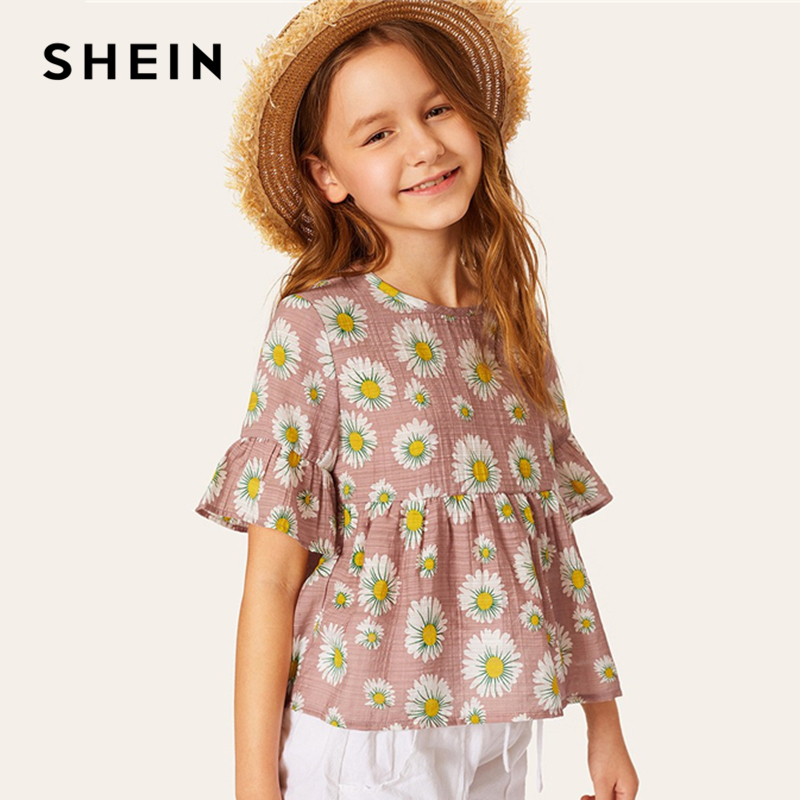 SHEIN Kiddie Pink Keyhole Back Floral Print Boho Peplum Top Kids 2019 Summer Holiday Flounce Sleeve Ruffle Hem Beach Cute Blouse burgundy lace up design one shoulder long sleeves sweaters