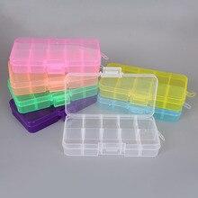 Красочные 10 сетки Регулируемый Прозрачный Пластик коробка для хранения небольших количеств компонентов швейные инструменты коробка бусины Кнопка Органайзер чехол