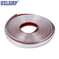Oslamp 30mmx15m Car Chrome Silver Moulding Strips Decoration Adhesive Bumper Grille Impact Protecting Trim Strip For truck SUVs