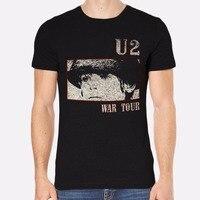 Tailored Shirts Short Sleeve Top Crew Neck Mens U2 Rock New Men T Shirt Black Clothing
