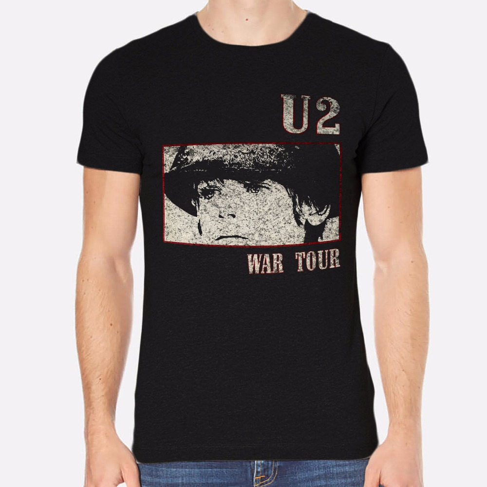 Tailored Shirts Short Sleeve Top Crew Neck Mens U2 Rock New Men T-Shirt Black Clothing 050 T Shirt