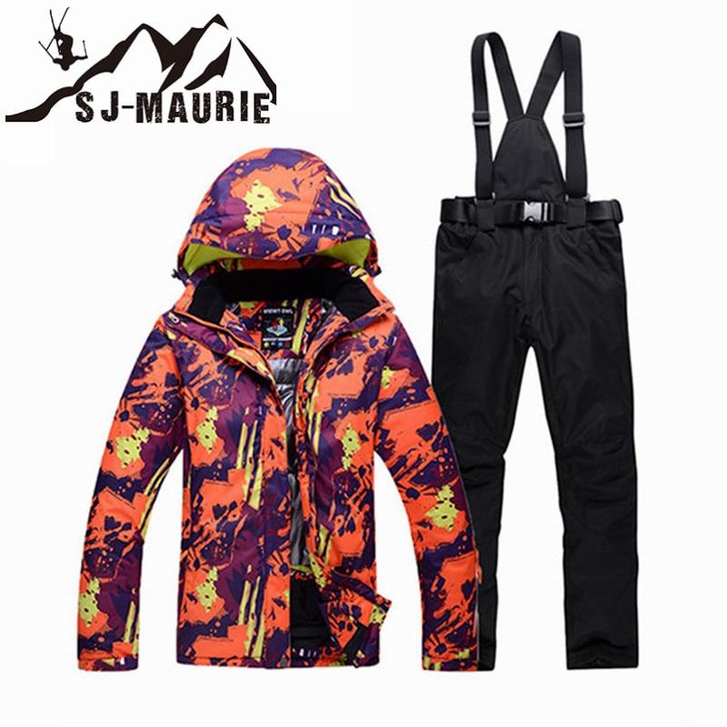 SJ-MAURIE 2018 Fly Ski unisexe Couple Ski ensemble hommes coupe-vent Snowboard Camouflage Ski veste et pantalon Couple neige Ski costume