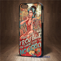 Amy Winehouse Trouble Song Lyrics Fashion Phone Cover Case For Iphone 4 4S 5 5S 5C