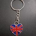 Enamels Heart - British flag Keychain-Fashion jewelry Tibetan silver charm pendant key chain ring DIY Fit Keychain D390
