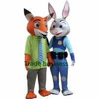 Бесплатная доставка Сумасшедший City животное Маскоты Джуди Хопп кроликов и Ник Фокс Маскоты костюм