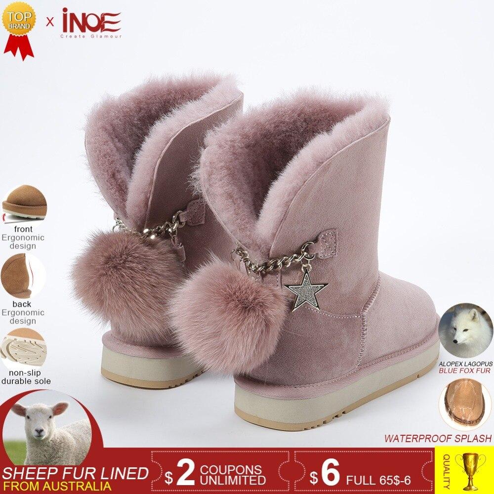 INOE nouveau cuir de mouton laine fourrure doublé daim décontracté bottes d'hiver pour femmes bottes de neige fourrure de renard pom-pom star glands crépuscule gris