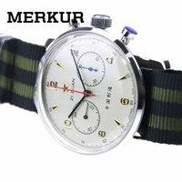 Мужские часы с хронографом и чашкой, перемотка от руки, 304 1963 42 мм, выставочный чехол, платье на заднюю панель, большой пилот