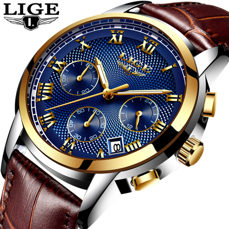 LIGE Fashion Sport Mens Watches Top Brand Luxury Gold Quartz Watch Men Leather Waterproof Military Wrist Watch Relogio Masculino new original kyocera 302k994980 motor pm regist for ta4500i 5500i 4501i 5501i 6501i 8001i