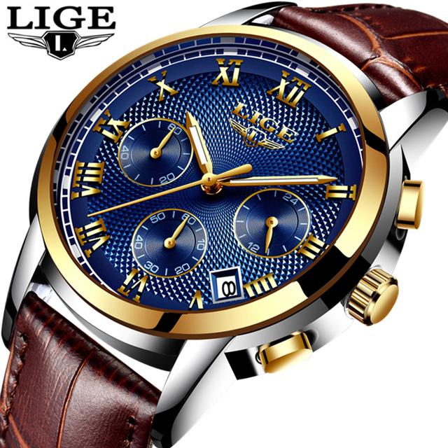 LIGE Fashion Sport Mens Watches Top Brand Luxury Gold Quartz Watch Men Leather W