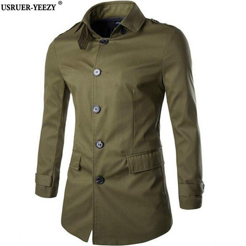 USRUER YEEZY 2017 Men Trench Coat Single Breasted Fashion Long Cotton Overcoat Mens Windbreaker Clothing Abrigo