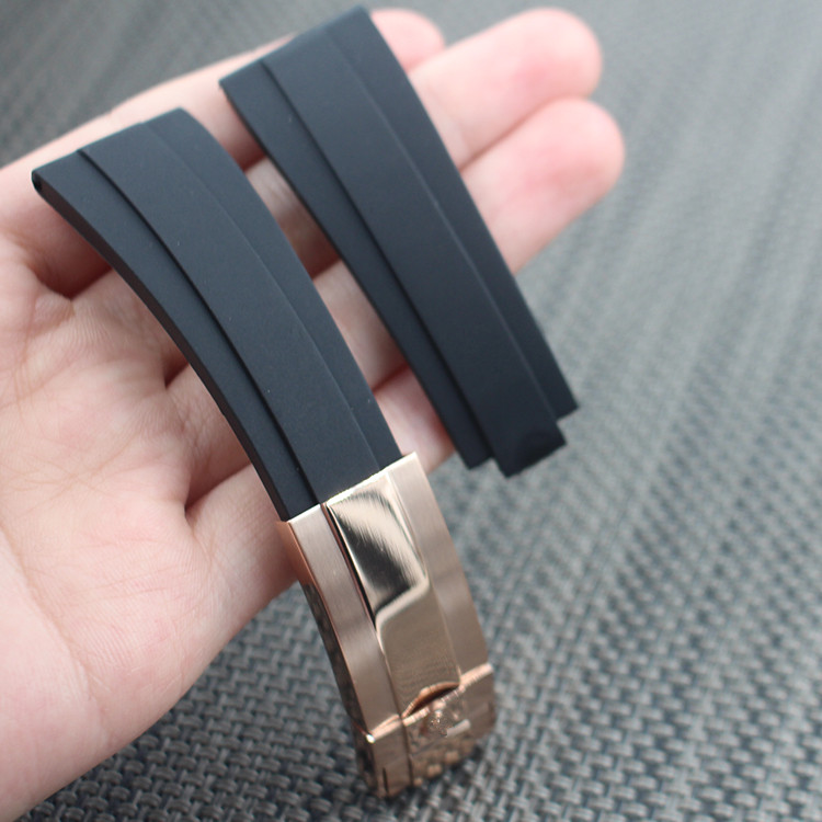 20mm Rubber Watch Band Men Diving Watchbands Belt Waterproof Silicone Watch Strap Steel Buckle for rolex 116655-Oysterflex 20mm silicone rubber watchbands men women sport waterproof watch band strap black red blue walnut metal buckle accessories