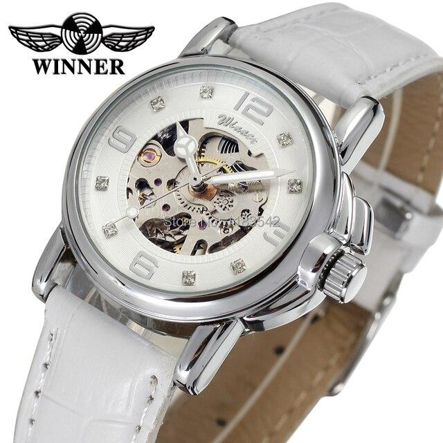 Победитель Для женщин смотреть новейшие Дизайн Часы леди Одежда высшего качества часового завода магазин Мода наручные часы Цвет белый wrl8011m3s10