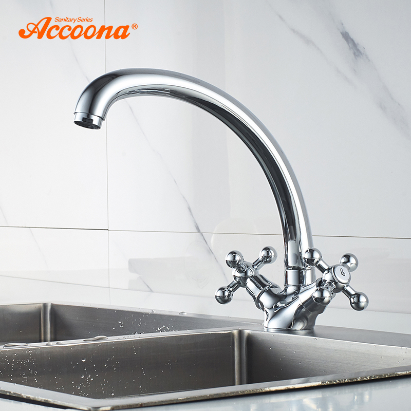 Accoona Kitchen Faucet Solid Brass Water Tap Kitchen Sink Faucets Dual Lever Hot And Cold Water Mixer Tap Crane A4071