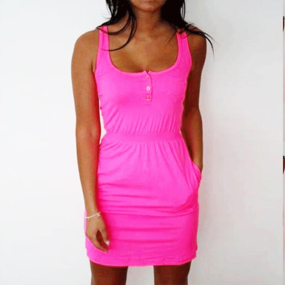 2018 attraktive Frauen Kleid Farbe Fluorescent Elastische Taille Dame Casual Ärmellose Sommer Strand Kleider Plus Größe S-5xl