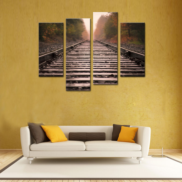 4 Panels Retro Railway Landscape Painting Wall Art Picture Print On ...