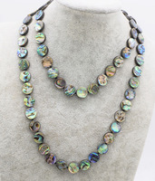 blue rainbow abalone shell coin 10/12mm necklace 30inch FPPJ wholesale beads nature