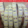 120leds/M white led strip SMD 8520 Double chip DC12V 5M 600LEDs flexible led rope bar light indoor outdoor decoration light