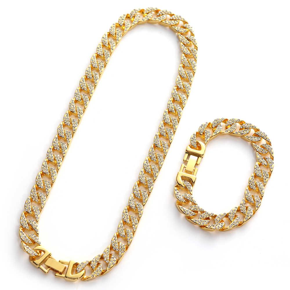 Hip Hop Iced Out Miami kubański Link Chain dla mężczyzn błyszczący kryształ Rhinestone CZ raper złoty srebrny kolorowy naszyjnik biżuteria bransoletki