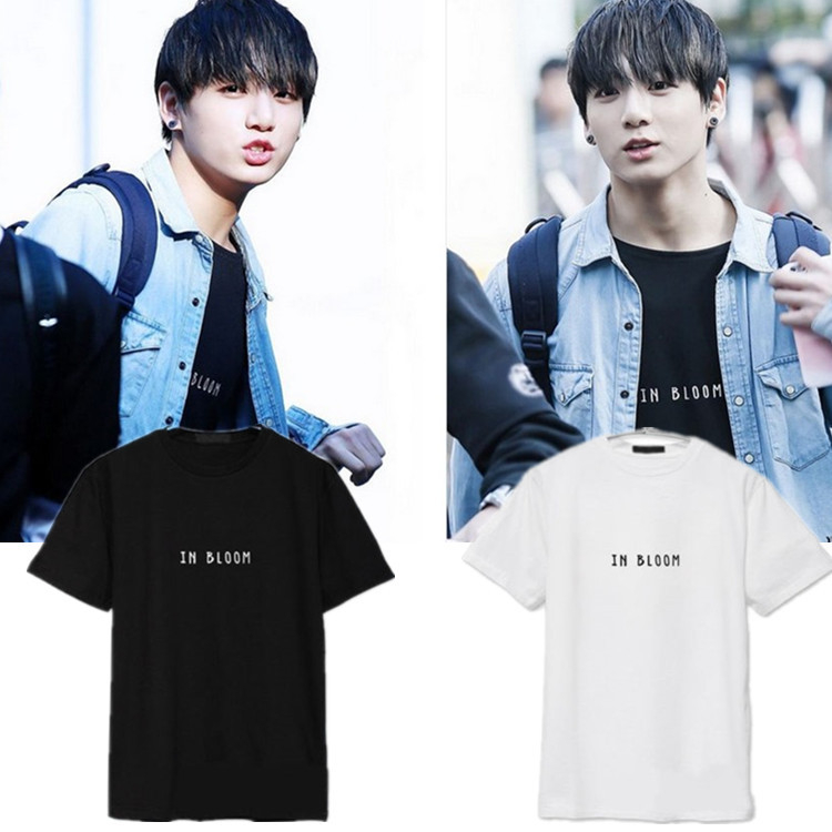 Bts Kpop T shirt boy Bangtan JUNGKOOK Logo cartoon shirts K-POP 2016 fashion classic white cotton black short sleeve shirts ...