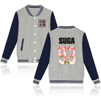Autumn Winter Baseball Jacket BTS Kpop Hoodies Women Bangtan Boys Fleece Sweatshirt For Love Album Pink