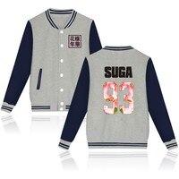 Autumn Winter Baseball Jacket BTS Kpop Hoodies Women Bangtan Boys Fleece Sweatshirt For Love Album Pink