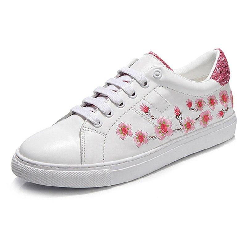 Taille Casual En Plat Cuir Véritable Conduite Bout 9 White Femmes Mode Broderie Femme Rond Chaussures Mocassins Doux De q6zZfH