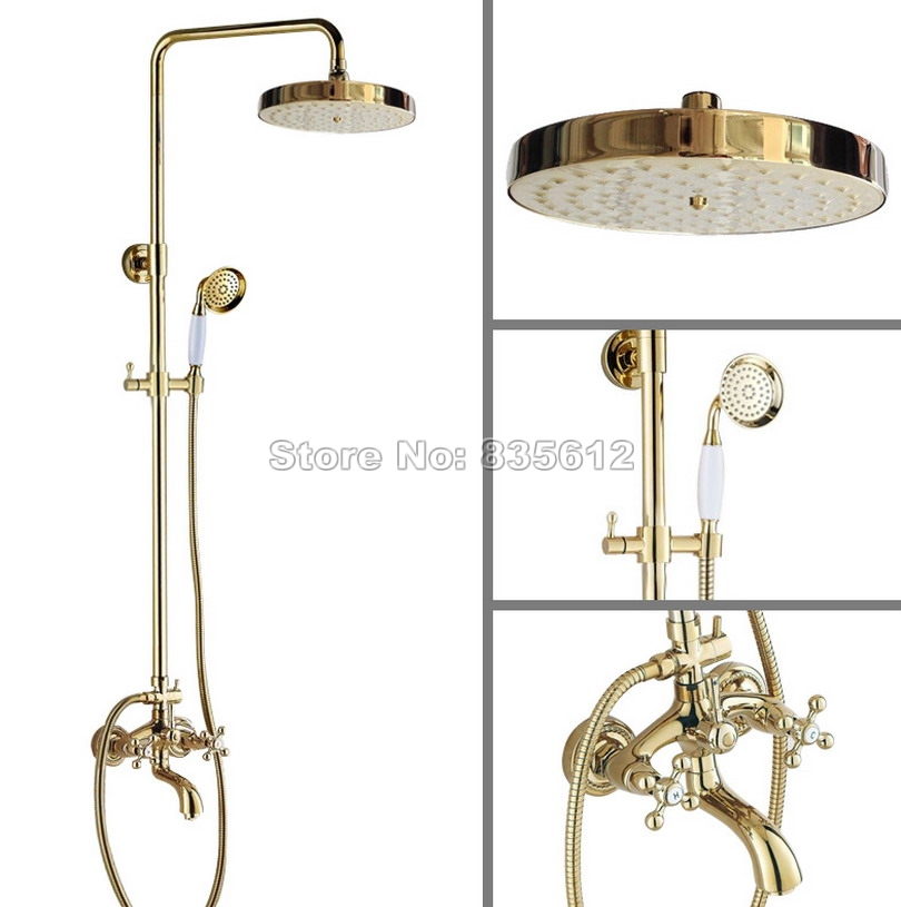 Wall Mounted Gold Color Brass Round Shower Head Rain Shower Faucet Set with Dual Cross Handles Bathroom Bathtub Mixer Tap Wgf455