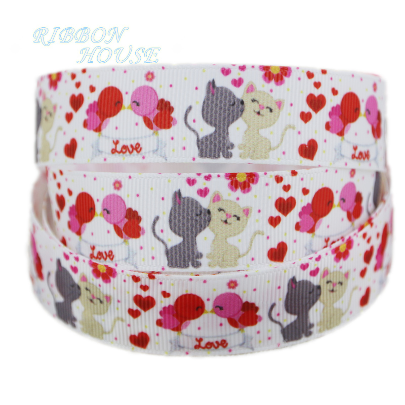 22mm Colorful Valentines Day Printed Grosgrain Ribbon