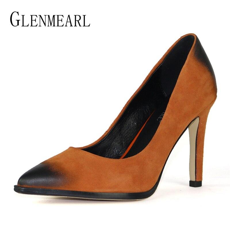 Брендовые женские туфли-лодочки свадебные туфли на высоком каблуке из натуральной кожи и замши женская обувь модные новые острый носок тон...