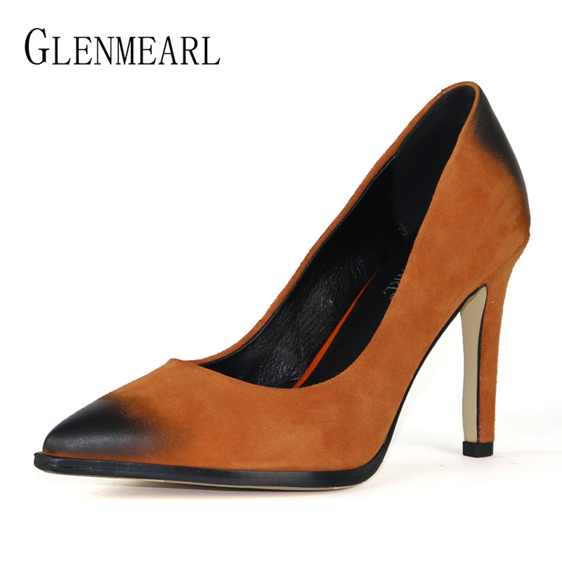 Brand Women Pumps High Heels Wedding Shoes Genuine Leather Suede Ladies Shoe Fashion Newest Pointed Toe Thin Heel Shoes Woman DE luxury brand crystal patent leather sandals women high heels thick heel women shoes with heels wedding shoes ladies silver pumps