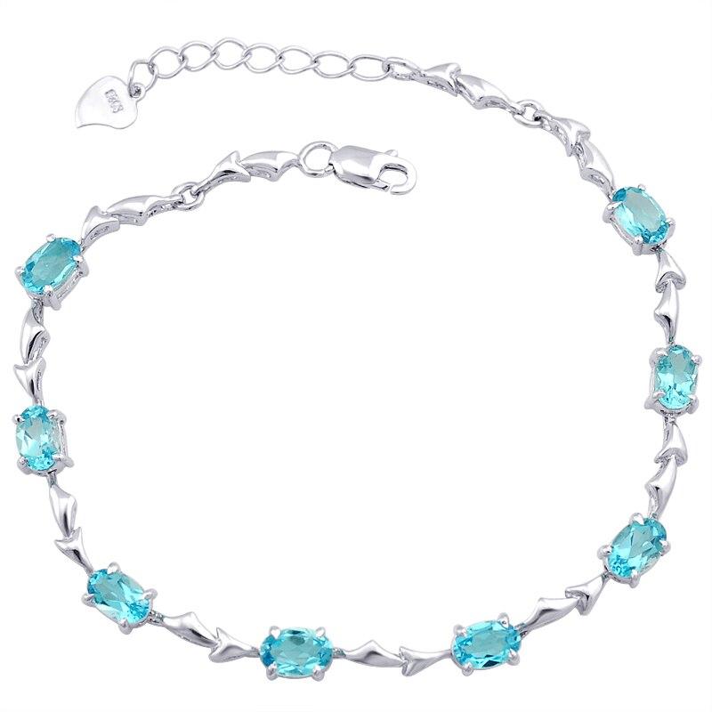 Bracelet en topaze naturelle 925 en argent Sterling femme Fine élégante bijou bleu bijoux fille pierre de naissance cadeau saint-valentin sb0009b