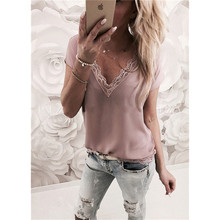 Women Short Sleeve Lace Blouse Ladies Summer Casual V Neck Loose Shirt Tops Size S-XL