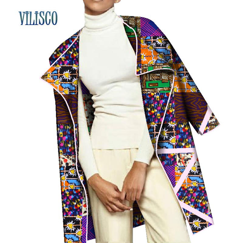 Fashion Spring Casual   Trench   Coat for Women Traditional African Print   Trench   Coat Bazin Riche African Custom Clothing WY2864