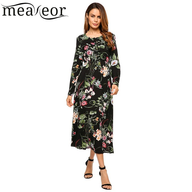 c38a2935a63 Meaneor Tropical Floral Print Dress Female Button-Front Long Sleeve Maxi  Dress Fit and Flare