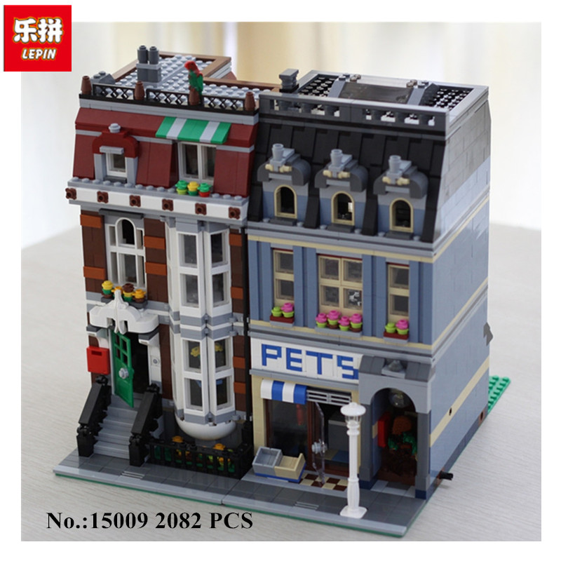 IN STOCK LEPIN 15009 Pet Shop Supermarket Model City Street Building Blocks Compatible 10218 Toys For Children Free shipping kmashi led flame lamp night light bluetooth wireless speaker touch soft light for iphone android christmas gift mp3 music player