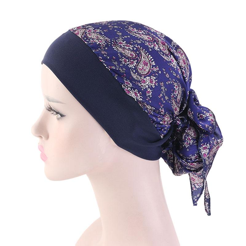 Womens Muslim Hijab Cancer Chemo Cap Flower Print Hat Turban Cover Hair Loss Head Scarf Wrap Pre-Tied Headwear Strech Bandanas