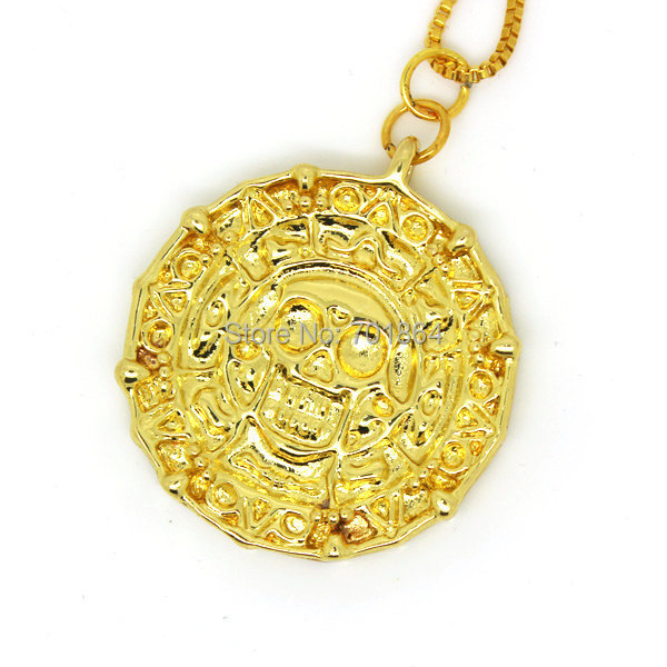 Fashion Jewelry Gold Color Aztec Coin Pendant Necklace the Pirates