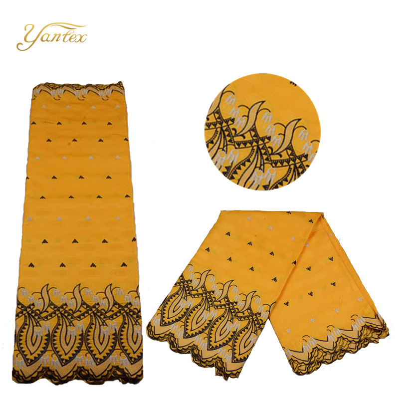 YANTEX Yellow African Lace Fabric Material Bazin Riche Patchwork Fabric With Lace 5 Yards Mens African Fabric Factory Price