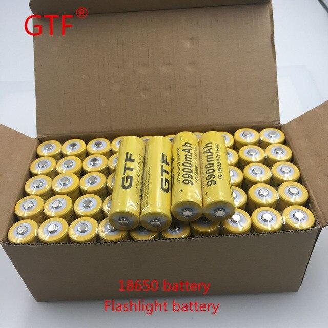 Mô hình mới Vỏ Màu Vàng GTF 18650 3.7 V 9900 mAh Công Suất Sạc Li-Ion Pin cho LED Flashlight Torch Pin