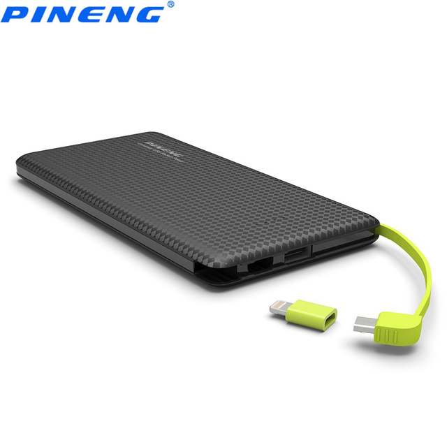 Натуральная Pineng PN951 10000 мАч Портативный мобильный Запасные Аккумуляторы для телефонов Батарея Зарядное устройство Встроенный кабель для зарядки внешних Батарея Зарядное устройство