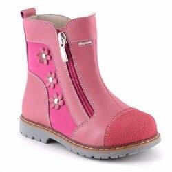 TEMPORADA PRIMAVERA/otoño cuero genuino piel natural botas para Niñas para niños Rosa botas ortopédico para la calle caliente