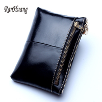 RanHuang Brand Women Luxury Wallet Double Zipper Wallet Short Design Female Genuine Leather Wallet Card Holder