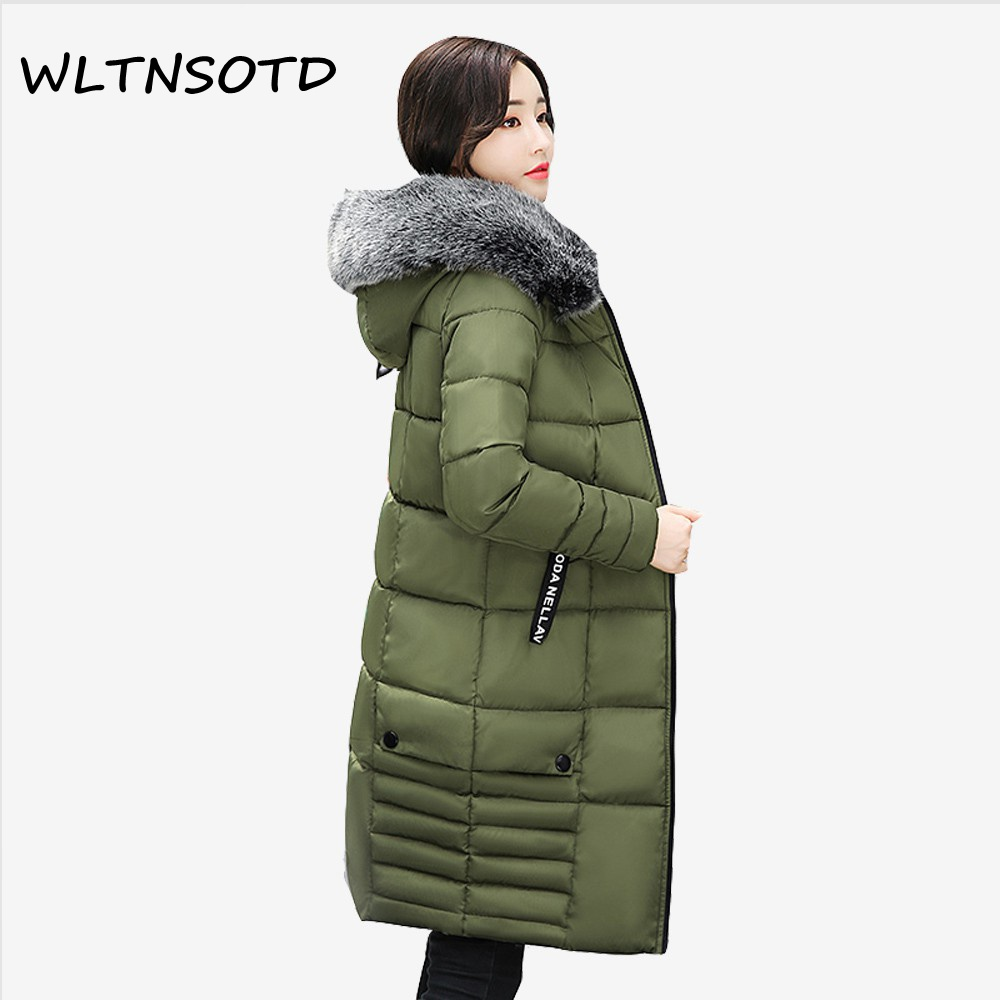 2017 new winter cotton coat women long Slim fashionable Hooded Big Fur collar jacket Female letter pattern warm Parkas 2017 new winter women big fur collar hooded thick coat long slim badge pattern letter jacket female fashion cotton warm parkas
