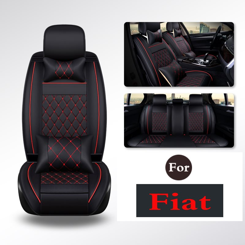 Cubierta de asiento de Pu A prueba de agua negro Juego completo cubierta de asiento de cuero impermeable para coche Protector de cojines de Auto para Fiat viagg ottimo