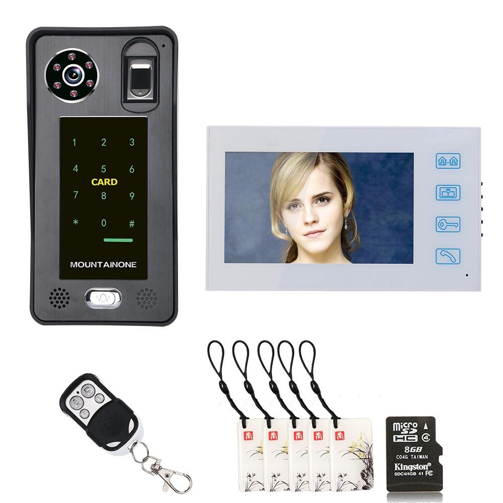 7 Inch Recording Fingerprint IC Card Video Door Telephone Intercom Doorbell Access Control Access System Night Vision
