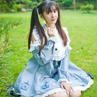 2016 Early Spring Japanese Style Fashin Brand Soft Girls Bird Pattern Printed Dress Strapless Doll Models