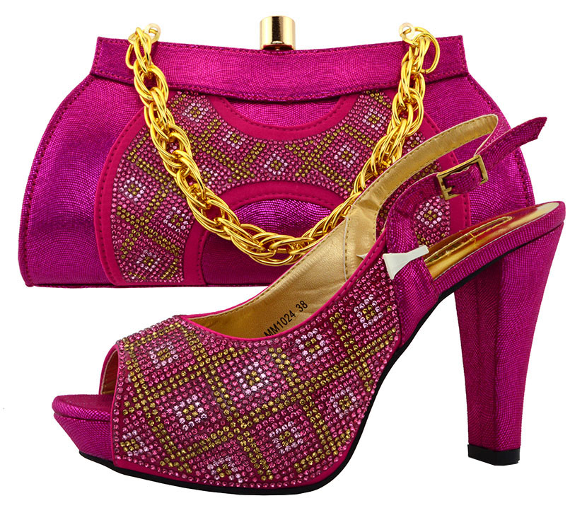 ФОТО New Arrival Fuchsia Color Shoes and Bag Set Decorated with Appliques African Shoe and Bag Set for Party In Women Italian  MM1024